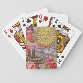 Spain Vintage Trendy Spanish Travel Collage Playing Cards