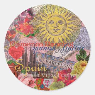Spain Vintage Trendy Spanish Travel Collage Classic Round Sticker