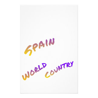 Spain world country, colorful text art stationery