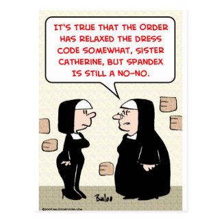 spandex nuns no-no dress code postcard