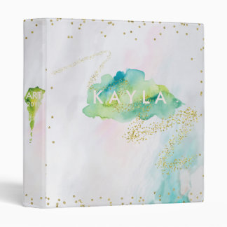 Spangled Agate Watercolor Green and Pastels Vinyl Binder