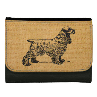 Spaniel, Vintage Line Drawing Leather Wallet