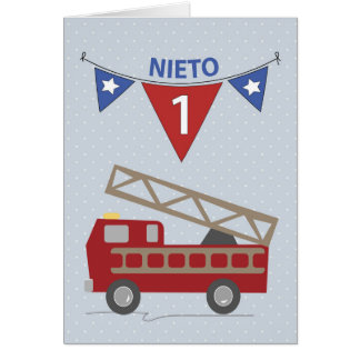 Spanish 1st Birthday Grandson, Firetruck Greeting Card