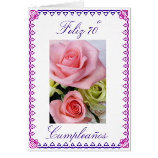 Spanish: 70 anos / birthday roses greeting card