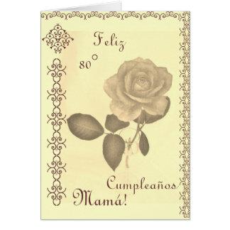 Spanish: 80 Cumples- Mamá / Mom's 80th birthday Greeting Card