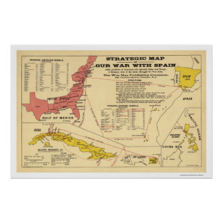 Spanish American War Map 1898 Poster