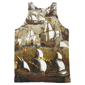 Spanish Armada and English ships 1588 tank top
