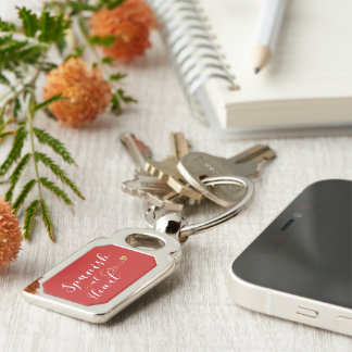 Spanish At Heart Keyring, Spain Silver-Colored Rectangle Keychain