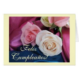Spanish: Birthday / Cumpleanos: seda y rosas Greeting Card