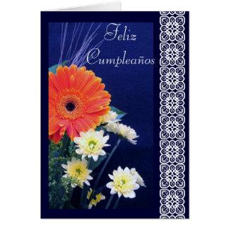 Spanish: Birthday/ Flores-Cumpleaños Greeting Card