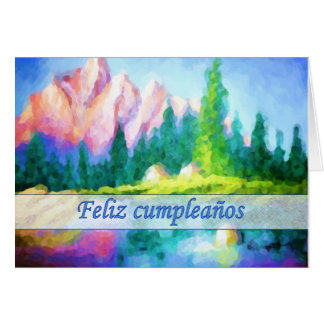 Spanish Birthday Pink Mountain Blue Sky Card