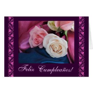Spanish Birthday pink roses rosas de cumpleanos Greeting Card