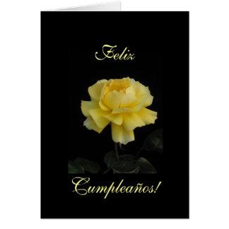 Spanish: birthday rose/ Cumpleanos, rosa Greeting Card