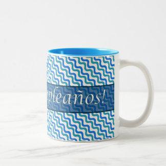 Spanish Birthday Turquoise Blue Wavy Two Tone Mug