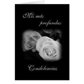 Spanish: Black & white rose - Condolencias Card