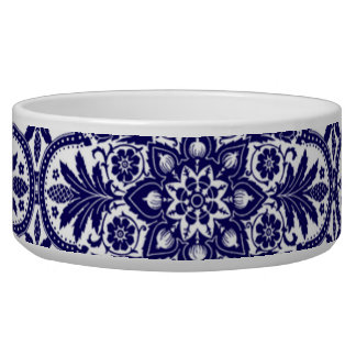 Spanish Blue Flower Pet Bowl