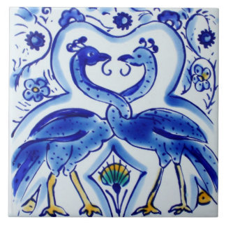 Spanish Blue & White Birds Ceramic Photo Tile