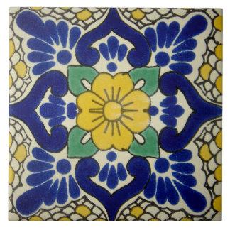 Spanish Blue & Yellow Flower Ceramic Photo Tile