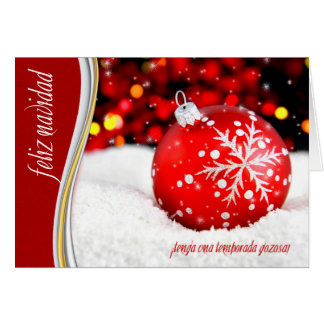 Spanish Christmas ¡Feliz Navidad! Snowflake Red Card
