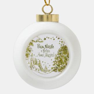 Spanish Christmas, trees gold winter Ceramic Ball Christmas Ornament