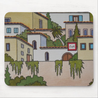 Spanish Church And Houses Mouse Pad