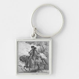 Spanish Contrabandista of Ronda and his Maja Silver-Colored Square Keychain