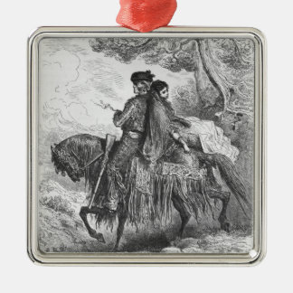 Spanish Contrabandista of Ronda and his Maja Silver-Colored Square Ornament