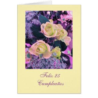 Spanish: Cumpleaños ( edad / age) birthday flowers Greeting Card
