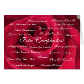 Spanish: Cumpleanos rosa roja / Birthday Card