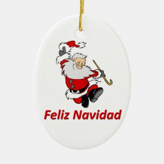 Spanish Dancing Santa Claus Ceramic Ornament
