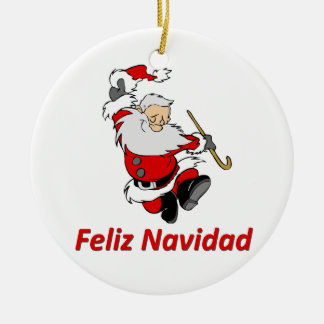 Spanish Dancing Santa Claus Round Ceramic Ornament