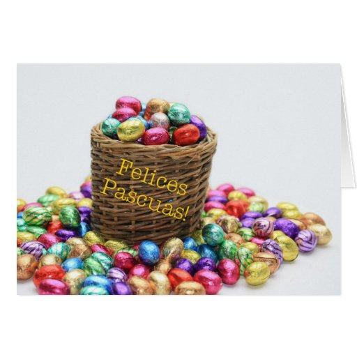 Spanish easter greeting basket with eggs greeting cards