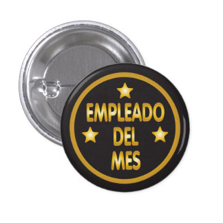 Spanish Employee of the Month Gold Stars 1 Inch Round Button