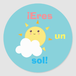 "Spanish ""Eres un Sol"" Sticker with Cute Little Sun"