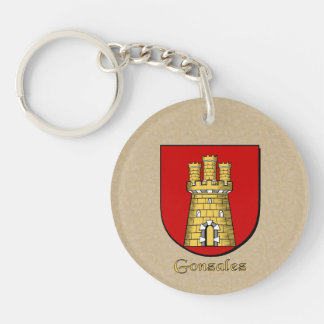Spanish Flag and Gonzalez Historical Shield Double-Sided Round Acrylic Keychain