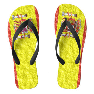 Spanish Flag Design Flip Flops