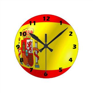 Spanish Flag Design Round Clock