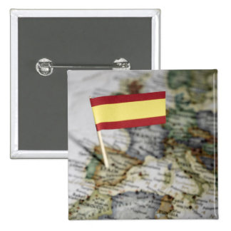 Spanish flag in map 2 inch square button