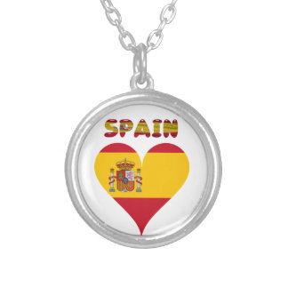 Spanish flag silver plated necklace