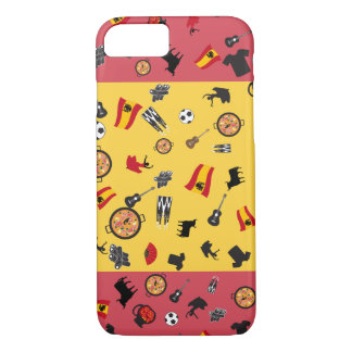 Spanish Flag with famous items of Spain iPhone 7 Case