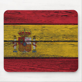 Spanish Flag with Rough Wood Grain Effect Mouse Pad