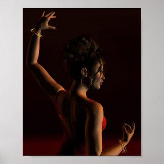 Spanish Flamenco Dancer on a Dark Stage Print