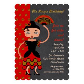 Spanish Flamengo  girl Birthday Party invitation