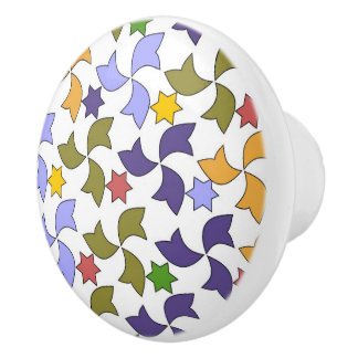 Spanish Geometric Pattern - White Ceramic Knob