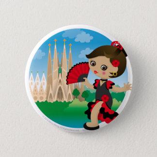 Spanish girl 2 inch round button
