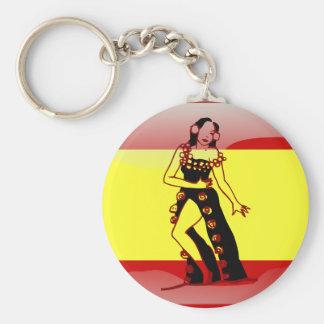 Spanish glossy flag basic round button keychain