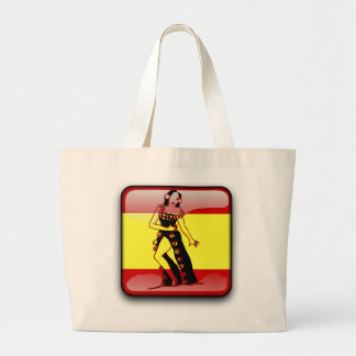 Spanish glossy flag large tote bag
