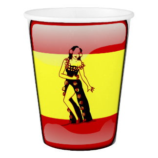 Spanish glossy flag paper cup