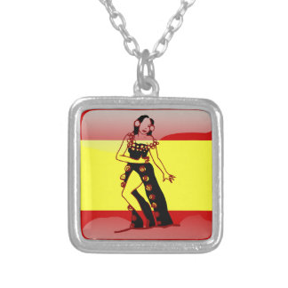 Spanish glossy flag silver plated necklace