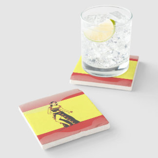 Spanish glossy flag stone coaster